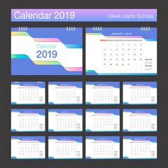 2019 Calendar. Desk Calendar trendy design template. Week starts Sunday.