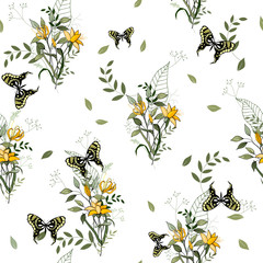 Vintage background. Wallpaper. Blooming realistic isolated flowers. Hand drawn. Vector illustration.Blossom floral seamless pattern.