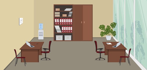 Beige office room with a large window. There are desks, red chairs, cabinets for documents, water cooler and a flower in the picture. Vector illustration.