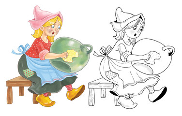 Cinderella. Fairy tale. Coloring page. Coloring book. Cute cartoon characters. Illustration for children