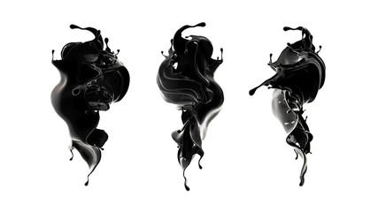 Splash of black liquid. 3d illustration, 3d rendering. Wall mural