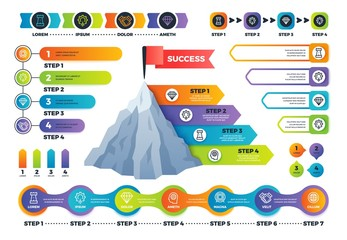 Step infographics. Pyramid graph with process options, infocharts and timeline. Marketing business infographic vector elements. Vector mountain infograph successful business, graphic