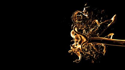 Black background with splash of liquid. 3d illustration, 3d rendering.