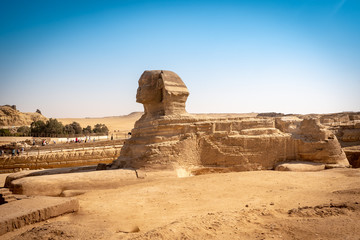 The full profile of the Great Sphinx with the pyramid in the background in Giza. Egypt.