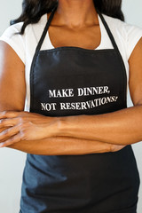 Woman Wearing Make Dinner Not Reservations Apron