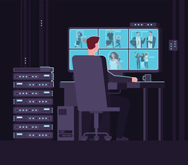 Surveillance monitoring room. Man watching surveillance camera on monitor in dark control room. Security service and cctv vector concept. Surveillance guard control, watching man screen illustration