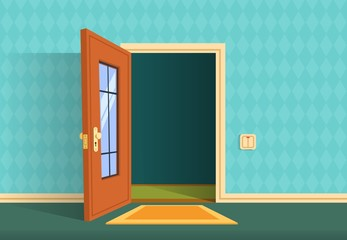 Cartoon open door. Apartment hallway entrance, office lobby. Home entry corridor vector background. Illustration of entrance and entry, exit door home