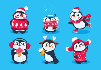 Christmas penguin. Funny snow animals, cute baby penguins cartoon characters in winter hat. Isolated vector set of penguin animal polar in red scarf and hat illustration