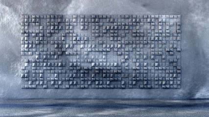 Industrial, stone, texture grunge background with geometry. 3d illustration, 3d rendering.
