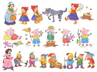 Set of cute fairy tale characters isolated on white. Coloring book. Coloring page. Cartoon