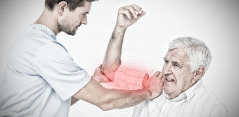 Composite image of physiotherapist assisting senior man to