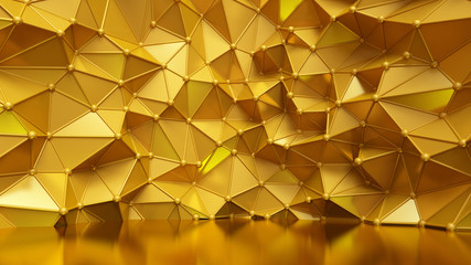 Luxury golden background with triangles and crystals. 3d illustration, 3d rendering.