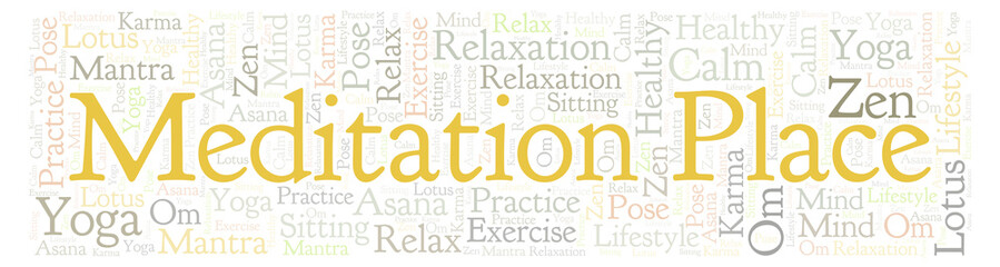 Meditation Place in banner shape word cloud.
