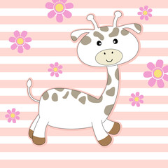 Cute cartoon giraffe on colored background. Greeting card to Valentines Day.