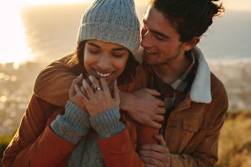 Affectionate couple on winter holiday