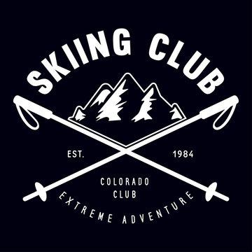 Vintage ski or winter sports logo, badge, emblem, design element. Vector illustration. Monochrome Graphic Art.