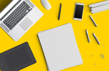 Minimal work space concept: smart phone, pen, pencils, notepad, notebook, tablet, laptop, composition on yellow background. Flat lay, top view