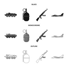 Isolated object of weapon and gun sign. Collection of weapon and army stock vector illustration.