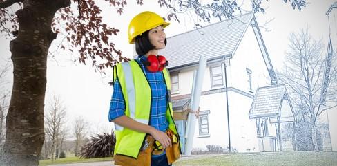 Composite image of female architect holding blueprint against