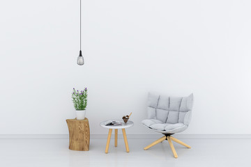 gray chair in white living room for mockup, 3D rendering