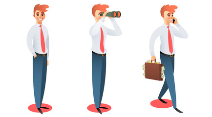 Vector set of business character. Businessman standing and smiling. Businessman walking and holding briefcase with cash, looking through binoculars, talking on the phone.