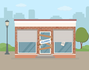 Store or cafe is bankrupt and closed. Facade of  building on city background.Flat vector illustration.