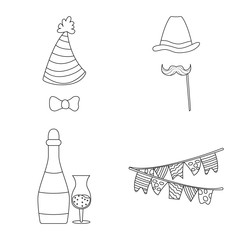 Vector illustration of party and birthday symbol. Set of party and celebration vector icon for stock.