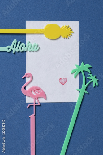 Beautiful Empty Birthday Celebration Card Blue Background Heart