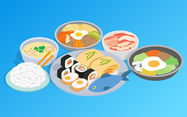 Korean food clip art. Isometric clip art of korean food concept vector icons for web isolated on white background