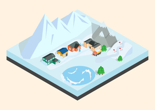 Mountain town clip art. Isometric clip art of mountain town concept vector icons for web isolated on white background