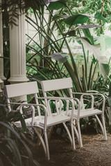 White chairs near a column with plants in the garden