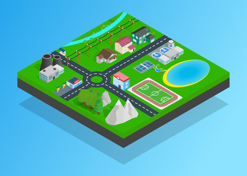 Small town clip art. Isometric clip art of small town concept vector icons for web isolated on white background