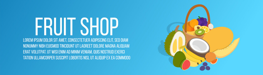Fruit shop concept banner. Isometric banner of fruit shop vector concept for web, giftcard and postcard