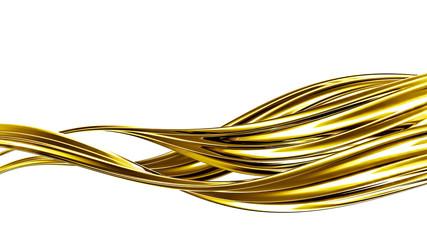 A splash of thick, golden liquid. 3d illustration, 3d rendering.