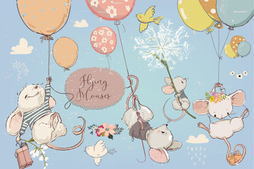 Collection with cute birthday mouses with balloons
