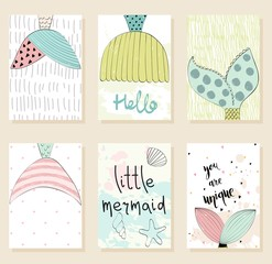 Collection of cute artistic cards for kids. Vector hand drawn illustration with mermaid's tail.