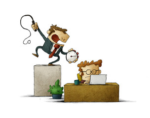 Business man holds a stopwatch and whip in hand, and a businessman works hard under him . Deadline time concept. Illustration. isolated