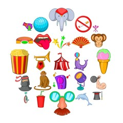 Circus icons set. Cartoon set of 25 circus vector icons for web isolated on white background