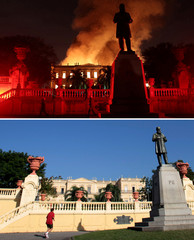 Combination picture shows Firefighters trying to extinguish a fire at the National Museum of Brazil in Rio de Janeiro a man jogging near the National Museum of Brazil, in Rio de Janeiro