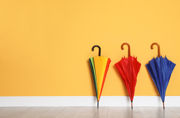 Beautiful bright umbrellas on floor near color wall with space for design