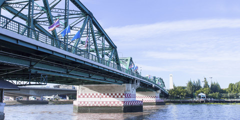 Phra Phuttha Yodfa Bridge, Memorial Bridge in Thailand.Morning light cloudy and blue sky.Copy right and panorama.