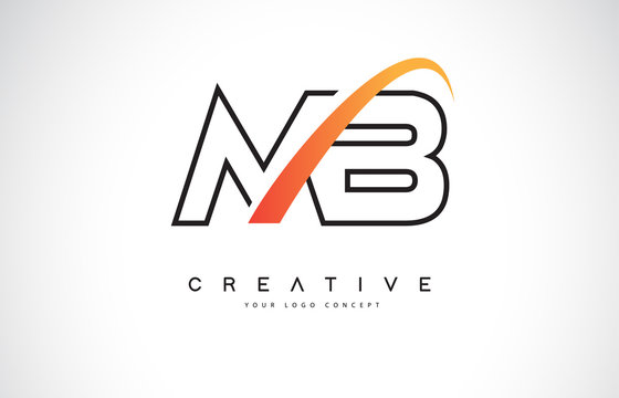 MB M B Swoosh Letter Logo Design with Modern Yellow Swoosh Curved Lines.