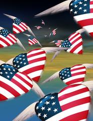 Flying USA Hearts