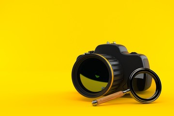 Camera with magnifying glass