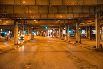 Aerial Chicago bay buildings bridge