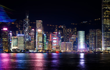 Hong Kong cityscape view from Victoria harbor at night