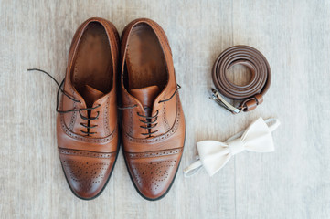 groom set clothes. Watch, shoes, bow tie
