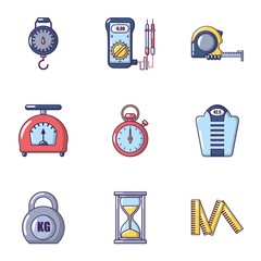 Weight icons set. Cartoon set of 9 weight vector icons for web isolated on white background