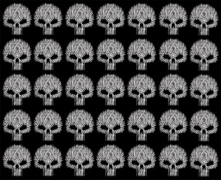 Skull background pattern line style, black and white