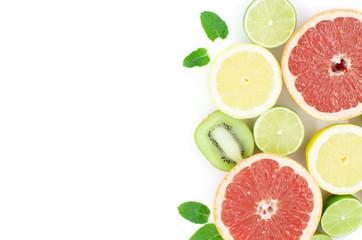 Grapefruit, tangerine, lime, lemon, kiwi are on a white background